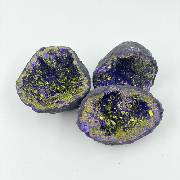 Quartz Geode Half - Golden Purple