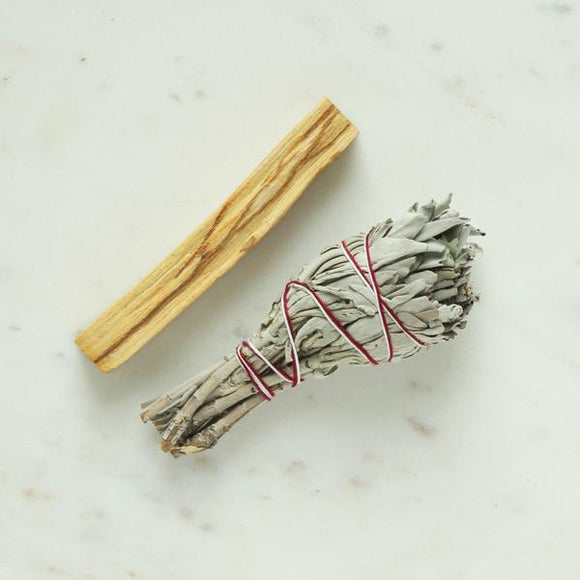 White Sage smudge stick and Palo Santo