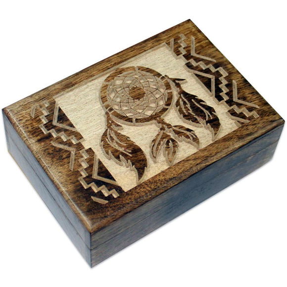 Dream Catcher Carved Mango Wood Box
