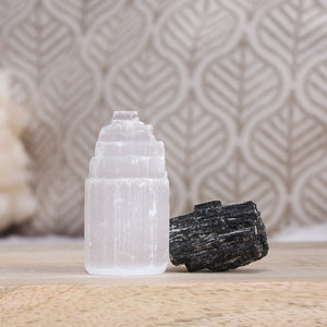 selenite and black tourmaline house protection set