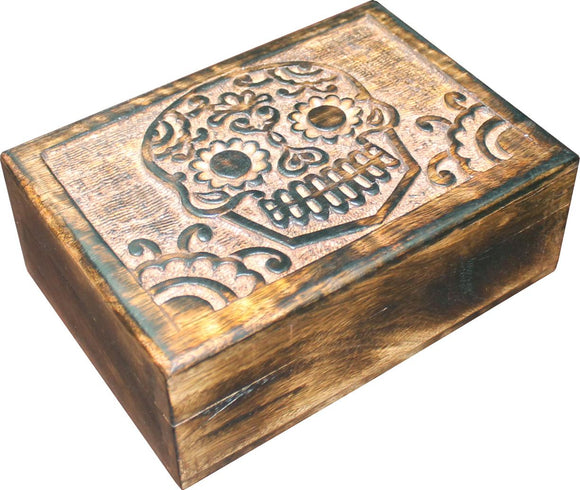 Skull Carved Mango Wood Box