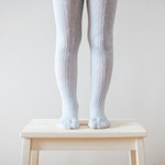 Lamington - Snow Grey Merino Cable tights