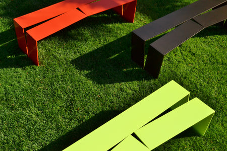 Divide Bench, Red Orange, Dark Bronze, Neon Yellow