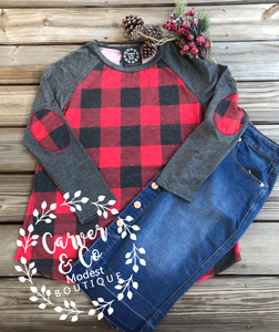 """Merry Christmas to me!"" Buffalo Plaid Elbow Patch Top"