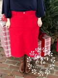 """Britt Nicole"" Red Denim Skirt"