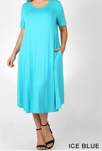 """The Perfect Fit"" Swing Dress In Ice Blue"
