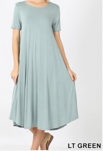 """The Perfect Fit"" Plus Swing Dress In Light Green"