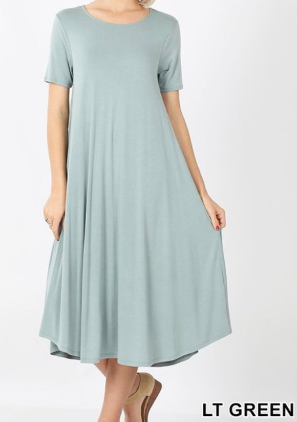 """The Perfect Fit"" Swing Dress In Light Green"