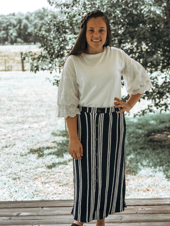 """Wear me Everywhere"" Striped Skirt In Navy"