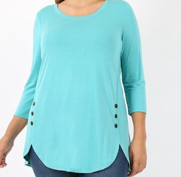 """Cute as a Button"" Plus Tunic In Mint"