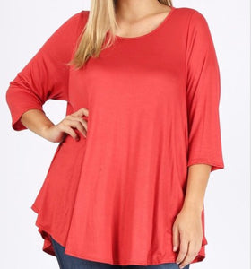 Basic Tunic Extra Plus Top In Rust