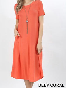 """The Perfect Fit"" Plus Swing Dress In Deep Coral"