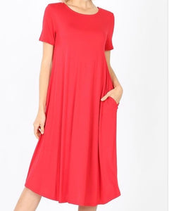 """The Perfect Fit"" Plus Swing Dress in Red"