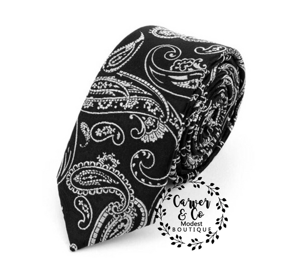 Paisley Tie in Black and Gray