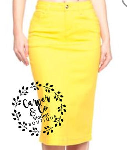 """Britt Nicole"" Yellow Denim Skirt"