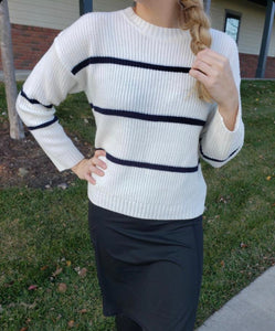 """Let it Snow"" Ivory Striped Sweater"