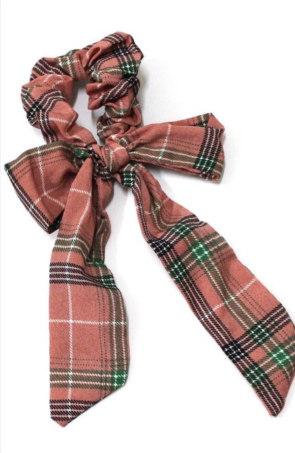 Plaid Scrunchie with a Mini Hair Scarf In Pink