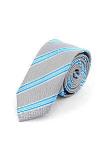 Gray with Aqua Stripes Slim Tie