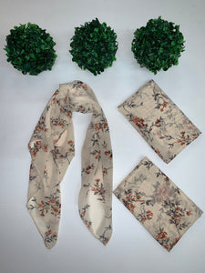 """Cream Vintage Floral"" Hair Scarf"