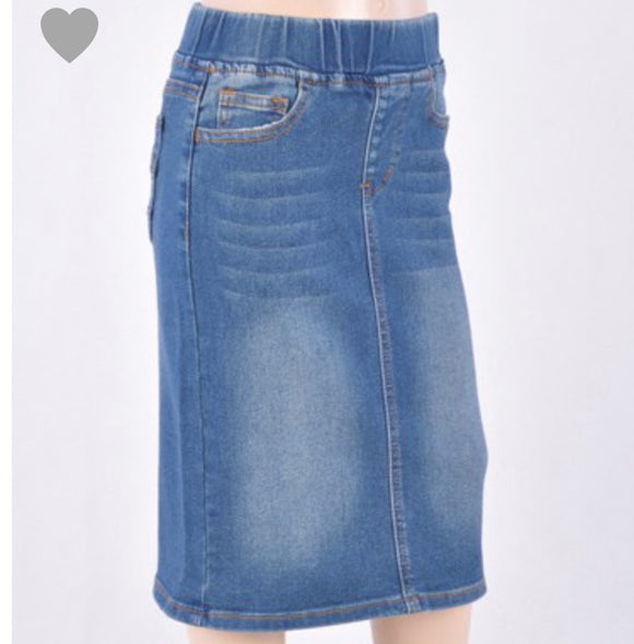 """Ellie Rae"" Girls Vintage Denim Skirt"