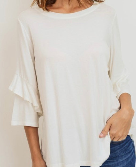 """Classic Top with a Ruffle"" Top In ivory"