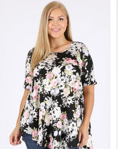 """Pop of Pink"" Floral Tunic"