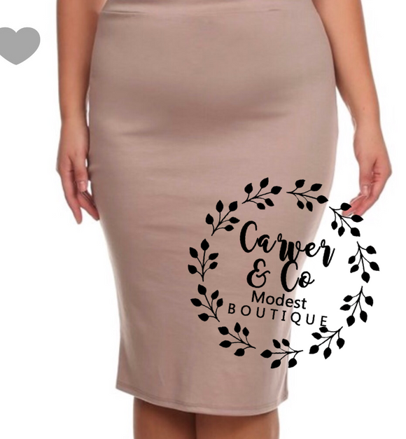 Perfect Pencil Skirt in Khaki (knit)