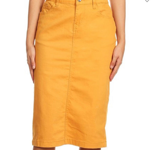 """Zoe Michelle"" Midi Denim Skirt in Mustard"