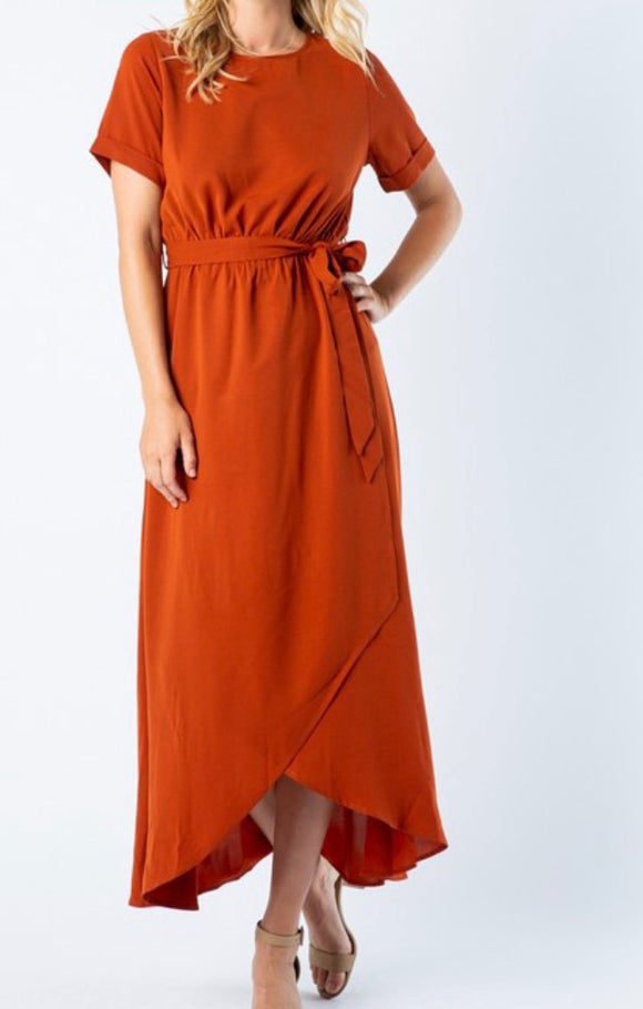 """Happiest of Days"" Wrap Dress In Rust"
