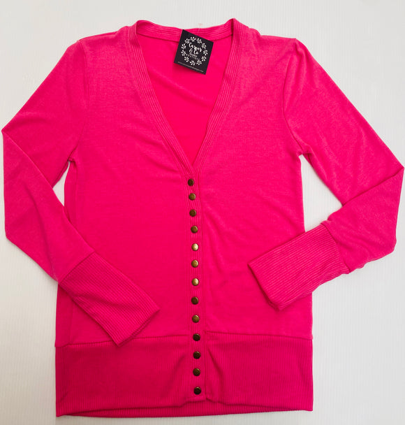 """All Purpose Cardigan"" in Hot Pink"