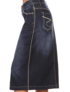 """Kayla Ann"" Plus Midi Dark Denim Skirt"
