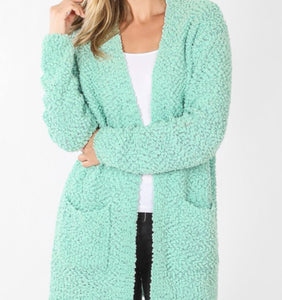 """Hold Me Close"" Popcorn Cardigan in Mint"