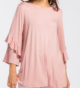 """Classy Tee With a Ruffle"" in Rose"