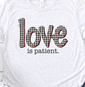 """Love is Patient"" Ladies Tee in White"
