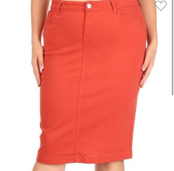 """Zoe Michelle"" Midi Plus Denim Skirt in Rust"