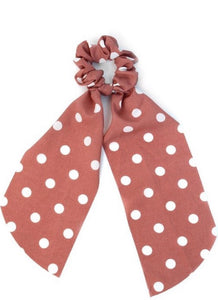 """Polka Dot Hair Tie"" In Rose Pink"