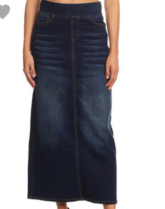 """Brooklyn"" Maxi Vintage Denim With Waistband skirt"