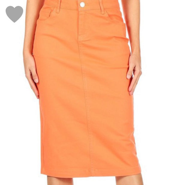 """Zoe MICHELLE""  Denim Skirt In Coral"