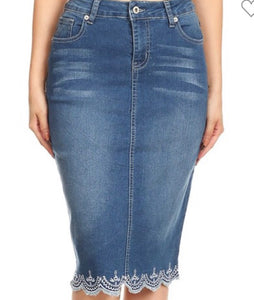 """Lacie Ann"" Light Denim Midi Skirt"