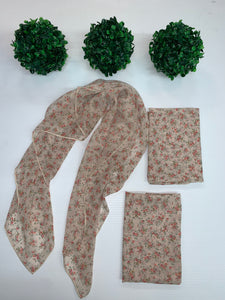 """ Cream Vintage Mini Floral"" Hair Scarf"