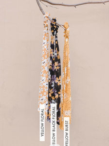Yellow and Black floral long hair ties
