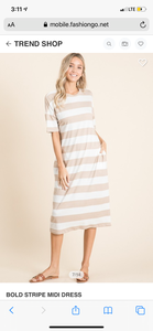 """Fun in the Sun"" Beige Striped Midi Dress"