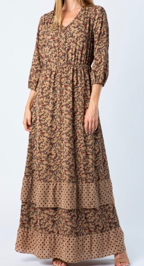 """Fashion is Never Outdated"" Maxi Dress In Taupe"