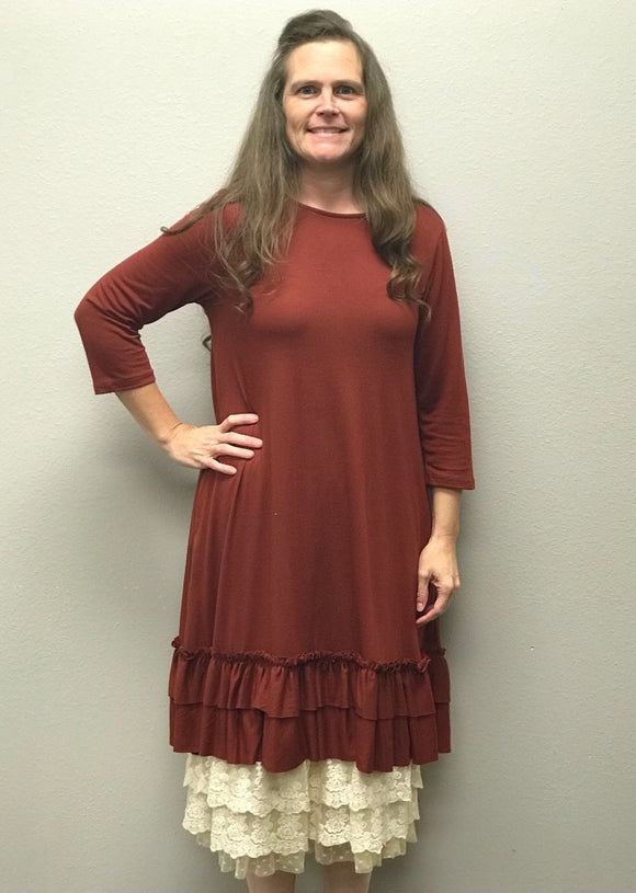 """Autumn is Calling"" Double Ruffle Plus Tunic Dress"