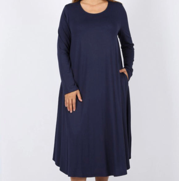 """The Perfect Fit"" Long Sleeve Plus Swing Dress in Navy"