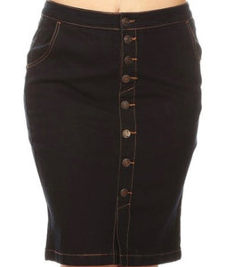 """Lucy"" Dark Denim Plus Skirt"