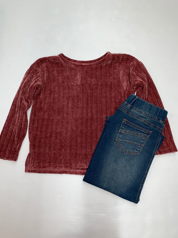 """I Adore You""  Girls Mauve Sweater"