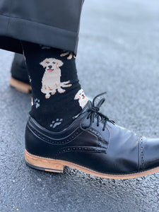 """Raining Dogs"" Socks In Black"