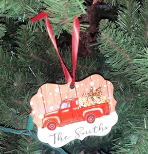 """Truck Full of Christmas Spirit"" One Side Ornament"