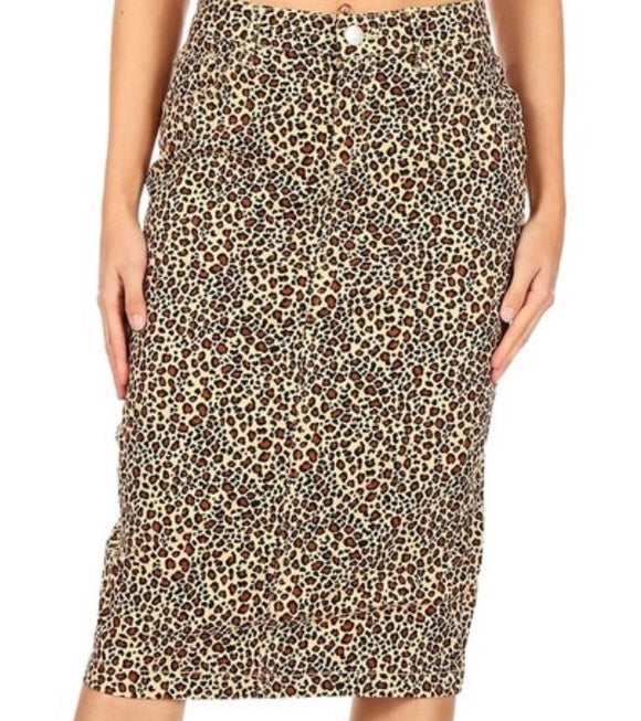 Misses Leopard Midi Denim Skirt